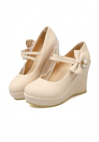 Beige Round Toe Fashion Bow Wedges Shoes