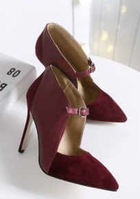 Wine Red Point Toe Stiletto Fashion Buckle High-Heeled Shoes