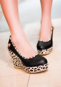 Scarpe cunei casualei in stampa leopardo A punta rotonda nero