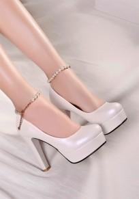Scarpe A forma di catena A forma di catena A forma di catena A punta tonda bianca