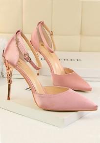 Sandali punto A punta di stiletto fibbia moda tacco alto rosa