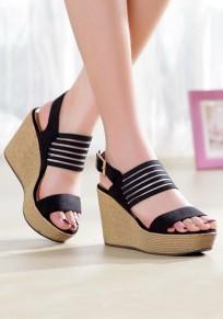 Sandali cunei A punta rotonda fibbia casuale nero