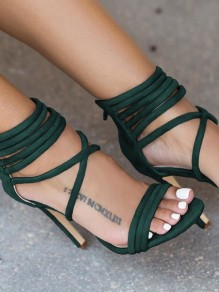 Green Round Toe Stiletto Zipper Fashion High-Heeled Sandals