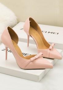 Scarpe tacco A punta di punta di punta A forma di stoffa tacco alto rosa