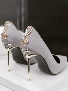 Grey Point Toe Stiletto Metal Decoration Fashion High-Heeled Shoes