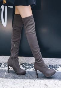 Stivali collo rotondo A forma di stoffa casuale sopra il ginocchio grigio scuro