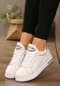 Silver Sequin Round Toe Flat Lace-up Casual Shoes