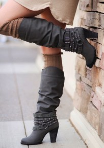 Grey Round Toe Chunky Rivet Casual Boots