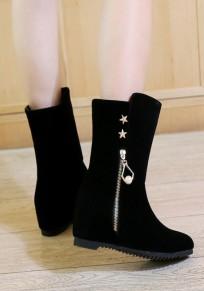 Stivali punta rotonda all'interno della cerniera superiore casuale A metà polpaccio nera