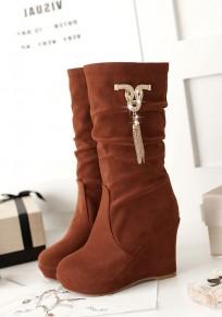 Stivali zeppe punta rotonda A catena con strass moda A metà polpaccio colore marrone
