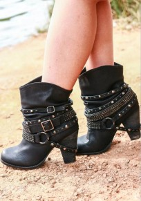 Black Round Toe Chunky Rhinestone Rivet Fashion Ankle Boots