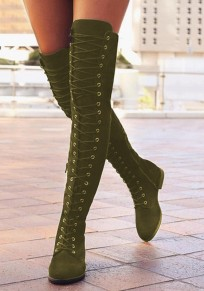 Green Round Toe Chunky Cross Strap Fashion Over-The-Knee Boots