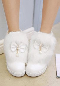 Beige Round Toe Within The Higher Rhinestone Bow Fashion Boots