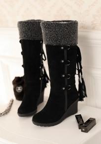 Stivali zeppe A punta rotonda con cinturino incrociato alla moda nappa A metà polpaccio nero