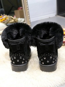Black Round Toe Rivet Bow Sweet Ankle Boots