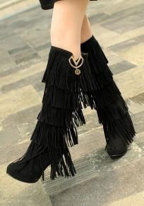 Stivali al ginocchio punta rotonda nappa moda nero