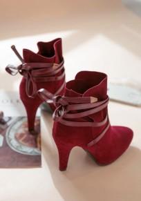 Stivaletti punta A punta stiletto con cinturino incrociato rosso