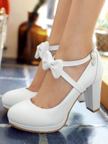 White Round Toe Bow Chunky Sweet High-Heeled Shoes