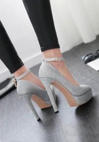 Scarpe A punta tacco stiletto moda con tacco alto argento