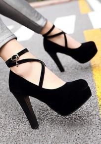Scarpe punta tonda grosso cinturino con fibbia alla moda con tacco alto nero