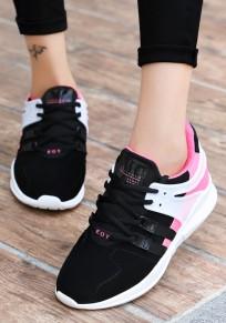 Ballerine nere E bianche A forma di croce dolce rosa