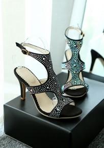 Sandali punta rotonda stiletto con tacco alto strass nero