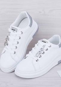 Scarpe E argento tondo paillettes strass moda caviglia bianco