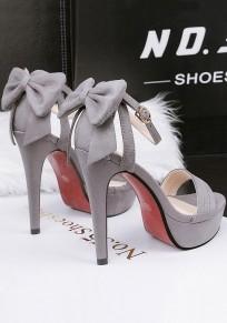 Sandali punta tonda stiletto con fibbia alla moda con tacco alto grigio