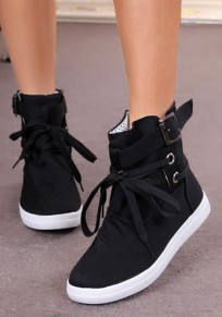 Black Round Toe Flat Cross Strap Casual Ankle Boots