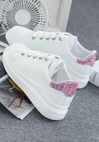 Scarpe E stivaletti alla caviglia con paillettes tondi rosa E bianchi bianchi