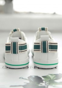 White And Green Round Toe Bow Fashion Ankle Shoes
