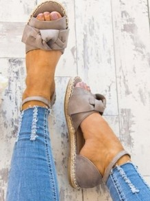 Grey Round Toe Bow Buckle Fashion Ankle Sandals