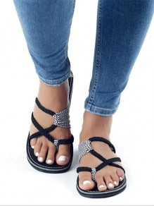 Black Round Toe Flat Patchwork Casual Ankle Sandals