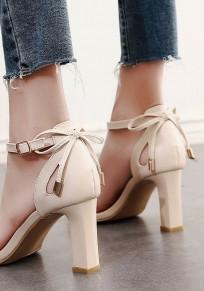 Sandali punta rotonda cravatta arco grosso moda con I tacchi alti albicocca