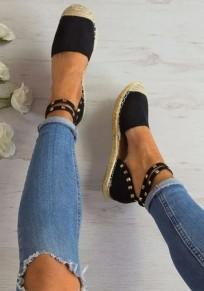 Scarpe punta rotonda rivetto moda caviglia nero