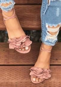 Sandali punta arrotondata alla caviglia rosa