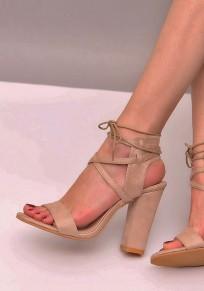 Sandali punta rotonda con tacco alto tacco alto albicocca