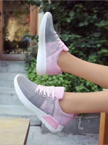 Scarpe E cinturino alla caviglia casuale rosa tondo grigio