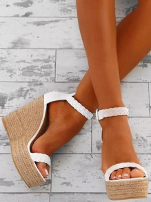 White Round Toe Wedges Buckle Fashion High-Heeled Sandals