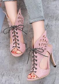 Sandali da spiaggia tracolla A bocca con stiletto A bocca tagliata con tacco alto rosa