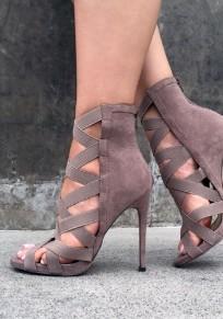 Sandali punta rotonda stiletto ritagliata moda A tacco alto grigio