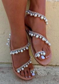 Sandali punta tonda piatta alla caviglia marrone