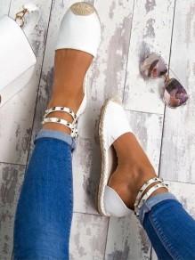 Scarpe punta rotonda rivetto moda caviglia bianco