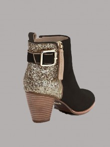 Black Round Toe Chunky Sequin Fashion Ankle Boots