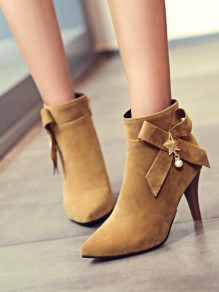 Yellow Point Toe Stiletto Bow Pearl Fashion Ankle Boots