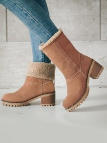 Brown Round Toe Chunky Fashion Mid-Calf Boots