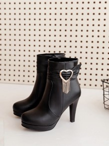 Black Round Toe Love Heart Fashion Ankle Boots