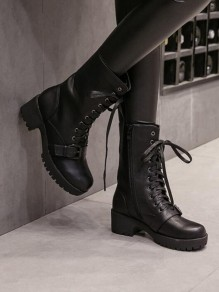 Black Round Toe Chunky Buckle Cross Strap Fashion Mid-Calf Boots