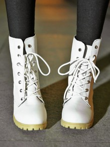 White Round Toe Lace-up Chunky Fashion Boots