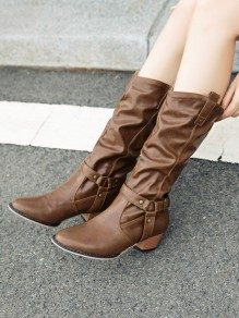 Brown Round Toe Belt Buckle Chunky Fashion Boots